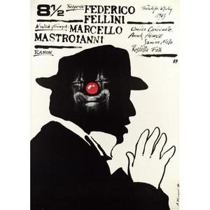 Osiem i pół, polski plakat...