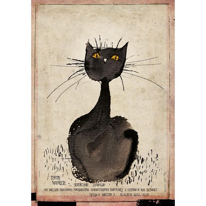 Koty W Filmie Wieczór Filmowy Plakat Ryszard Kaja